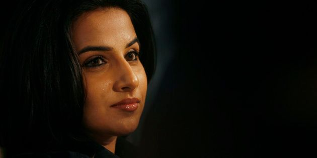 Bollywood actress Vidya Balan attends a promotional event for Japanese electronic company Toshiba in...