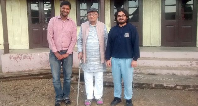 Natwarbhai Thakkar (center) with visitors at the Gandhi Ashram in Chuchuyimlang village in Nagaland