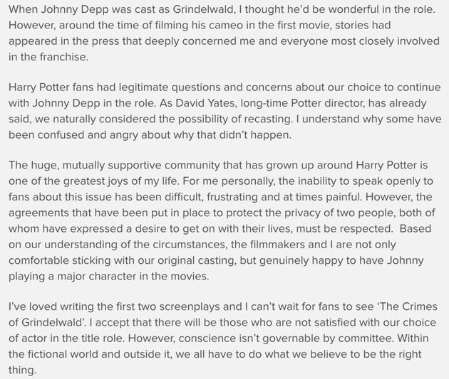 JK Rowling's statement on Johnny Depp's inclusion in the Fantastic Beasts