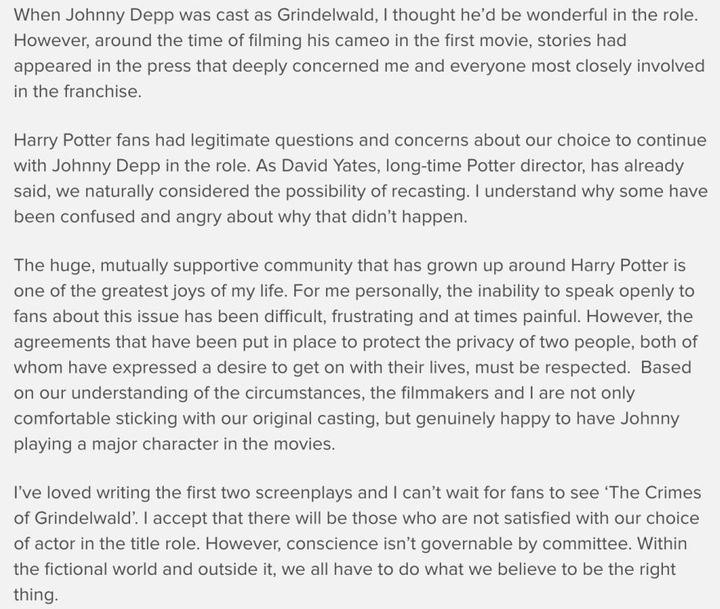 JK Rowling's statement on Johnny Depp's inclusion in the Fantastic Beasts series.