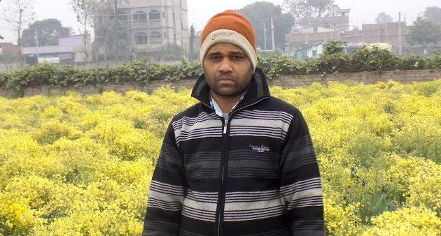 Rakesh Kumar of Chakwara village in front of his cauliflower seed