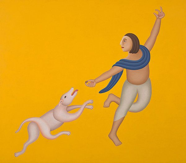 Manjit Bawa's paintings are rooted in the miniature tradition. This work sold at INR 2.16 crores in