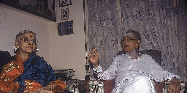 MS Subbulakshmi and her husband T Sadasivam sitting in their drawing
