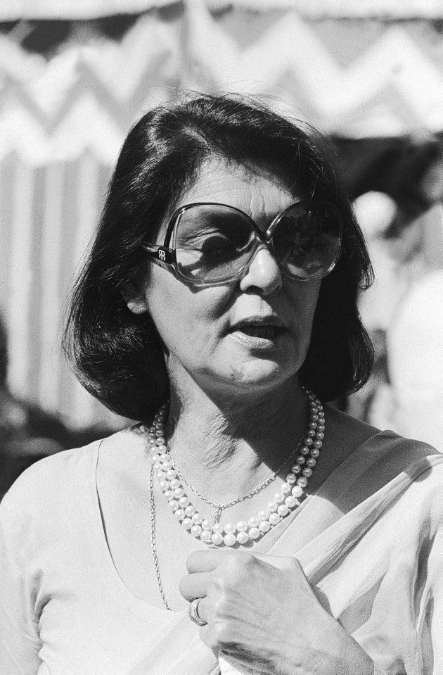 INDIA - JULY 25:  Portrait of Gayatri Devi, Rajmata of Jaipur and wife of Maharaja Jai Singh taken on July 25, 1980 in India. (Photo by The India Today Group/Getty Images)