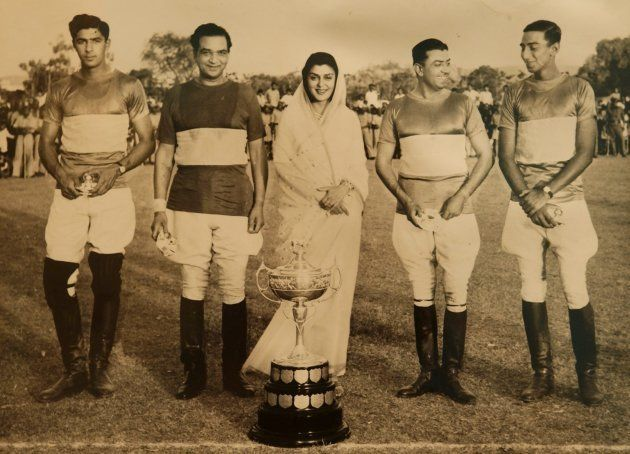 Maharani Gayatri Devi & Polo Team Polo tournament on the field of Rambagh Palace in Jaipur, India. (Photo...