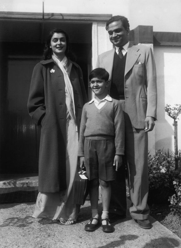 Sawai Man Singh II, the Maharajah of Jaipur (1911 - 1970), arrives at London Airport with his wife the Maharani Gayatri Devi and their 7-year-old son Prince Jagat Singh (1949 - 1997), 23rd April 1957. The Maharajah will be playing with the Indian polo team. (Photo by Central Press/Hulton Archive/Getty Images)