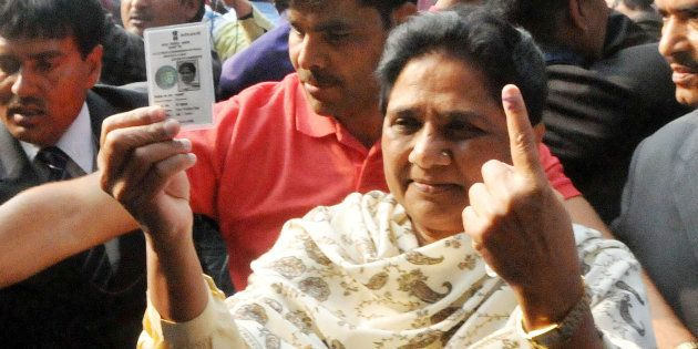 LUCKNOW, INDIA - FEBRUARY 19: Bahujan Samaj Party Chief Mayawati after casting her vote at Lucknow Mont....