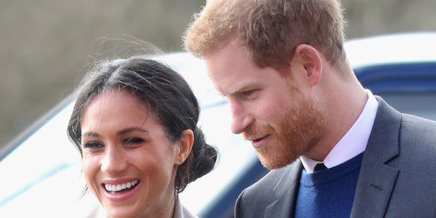 Prince Harry and Meghan Markle visit the Eikon Centre on March 23, 2018 in Lisburn, Nothern Ireland.