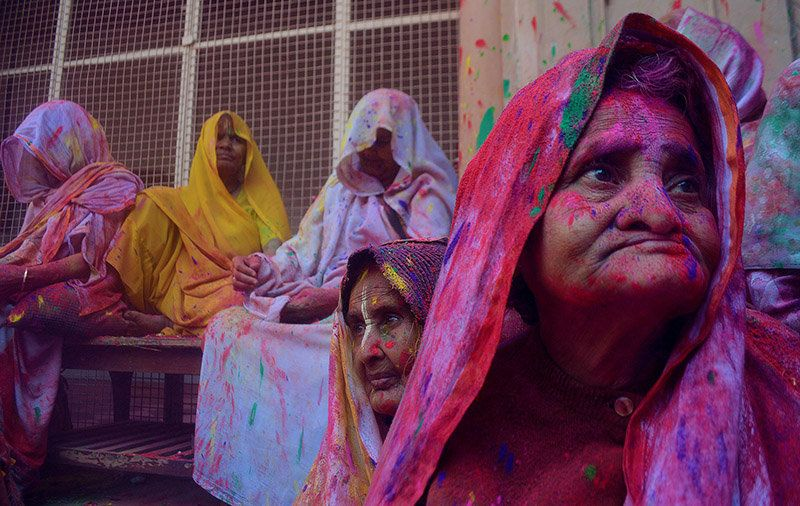 The drab saris the widows are bound by tradition to wear are unapologetically bright
