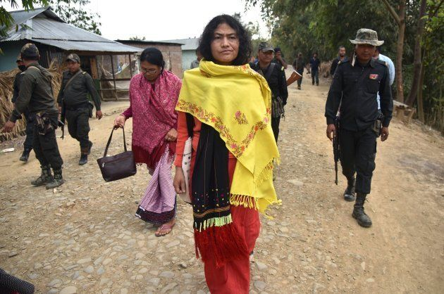 Indian human rights activist and election candidate Irom Sharmila (C) takes part in her final day of...