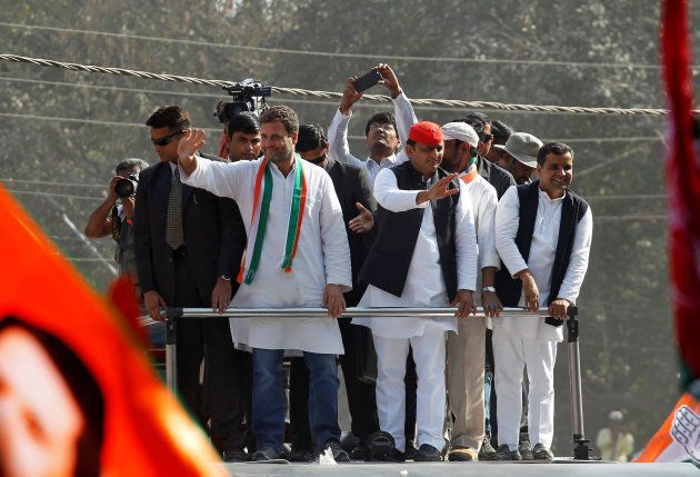 Rahul Gandhi (L), Vice-President of India's main opposition Congress Party, and Akhilesh Yadav, Samajwadi...