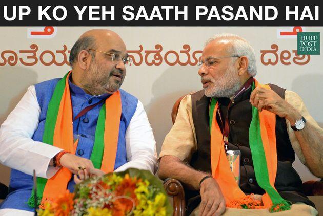 Indian Bharatiya Janata Party (BJP) national president Amit Shah (L) and Prime Minister Narendra Modi...
