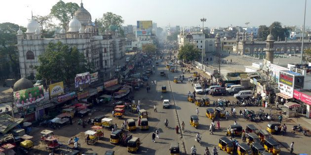 busy streets of hyderabad in