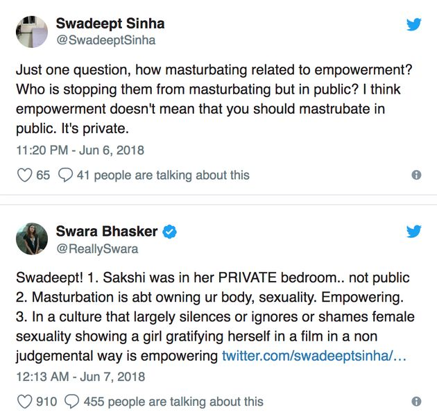 Swara Bhasker Expertly Shut A Troll Who Shamed Her For The Masturbation Scene In 'Veere Di