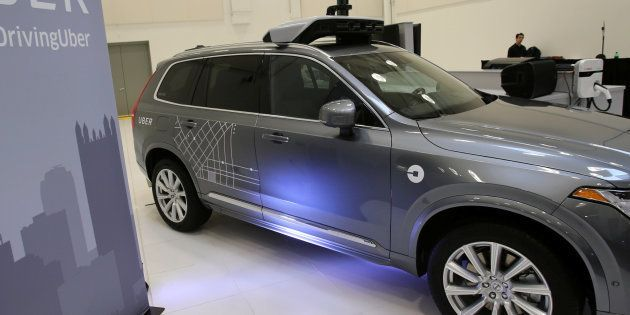 Uber's Volvo XC90 self driving car is shown during a demonstration of self-driving automotive technology...