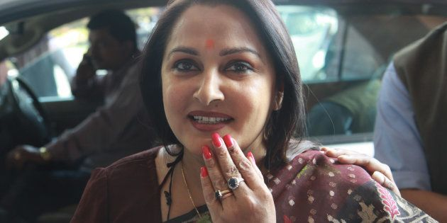 NEW DELHI, INDIA - MARCH 12: Samajwadi Party MP from Rampur and actress Jayaprada arrives to attend the joint session of Parliament on March 12, 2012 in New Delhi, India.