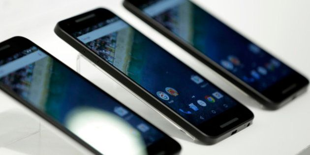 Nexus 5X smartphone, co-developed by LG Electronics Inc. and Google Inc., and manufactured by LG Electronics,...