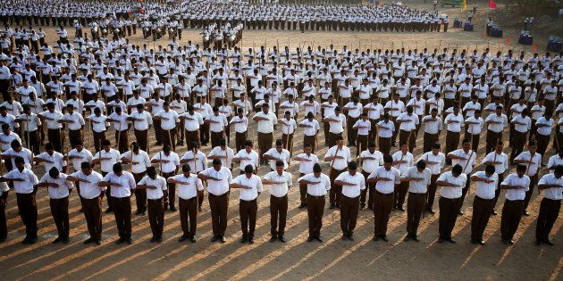 A file photo of RSS volunteers in