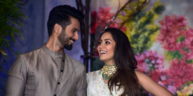 MUMBAI, INDIA - 2018/05/08: Bollywood actor Shahid Kapoor with wife Mira Rajput attend the wedding reception of actress Sonam Kapoor and Anand Ahuja at hotel Leela in Mumbai. (Photo by Azhar Khan/SOPA Images/LightRocket via Getty Images)