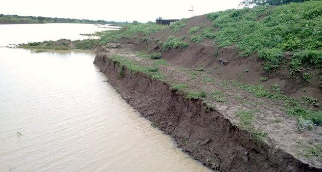 The widening of Manjra river at Araskheda village shows fragile banks that lead to renewed