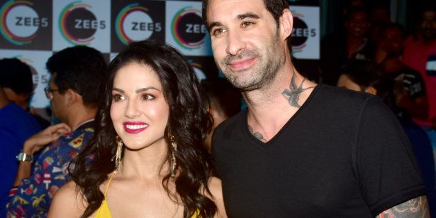 MUMBAI, MAHARASHTRA, INDIA - 2018/07/09: American-Canadian-Indian actress Sunny Leone with husband Daniel...