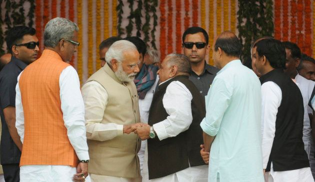 Prime Minister Narendra Modi interacting with former SP chief Mulayam Singh Yadav as well as former UP...