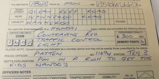 Driver Caught Running Red Light Tells Cops He Was On Way To