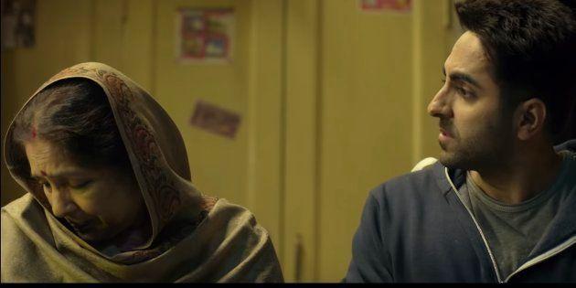 A still from Badhaai Ho starring Neena Gupta, Ayushmann Khurrana, Gajraj Rao and Sanya Malhotra.
