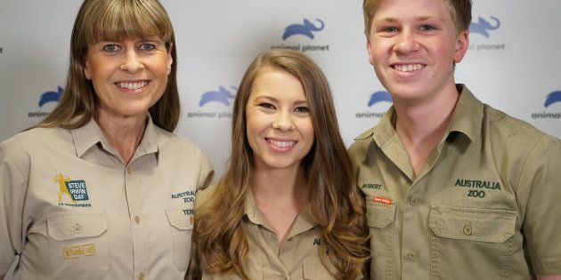 (From left) Terri, wife of the late Steve Irwin, her daughter Bindi and son Robert in a file