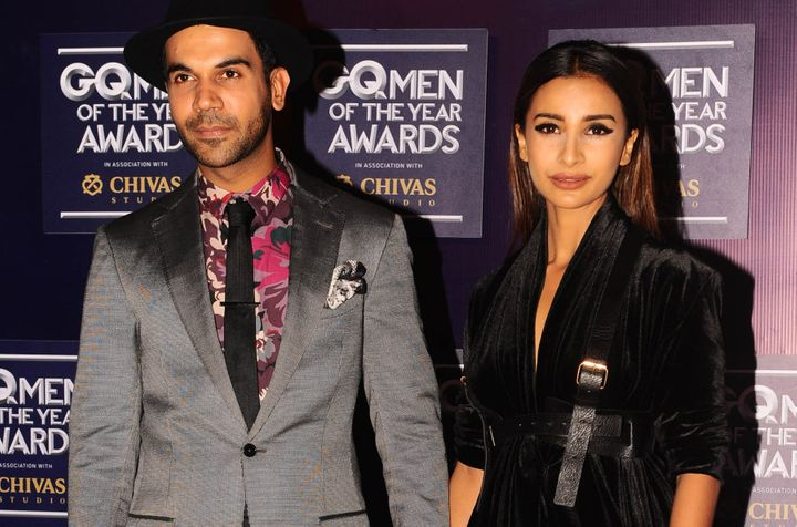 Indian Bollywood actors Rajkummar Rao and Patralekha attend GQ India's ninth anniversary with the annual Men of the Year Awards 2017 in Mumbai on September 22, 2017. / AFP PHOTO / STR        (Photo credit should read STR/AFP/Getty Images)