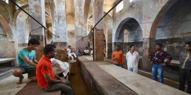 A slaughterhouse in the Qaiserbagh area wears a deserted look on March 26, 2017 in Lucknow,