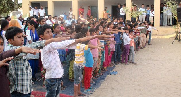 The children of Jaisalsar take a pledge to oppose child marriage