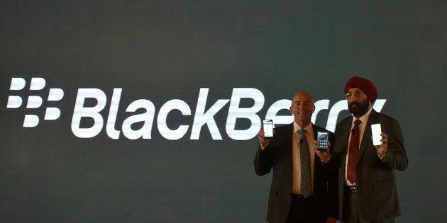 NEW DELHI, INDIA - NOVEMBER 7: Senior Vice President Blackberry Alex Thurber and Hardeep Singh Executive...