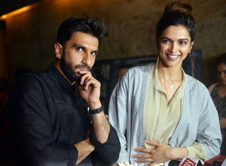 MUMBAI, INDIA JULY 21: Deepika Padukone and Ranveer Singh during the screening of film Madaari in Mumbai.(Photo by Milind Shelte/India Today Group/Getty Images)