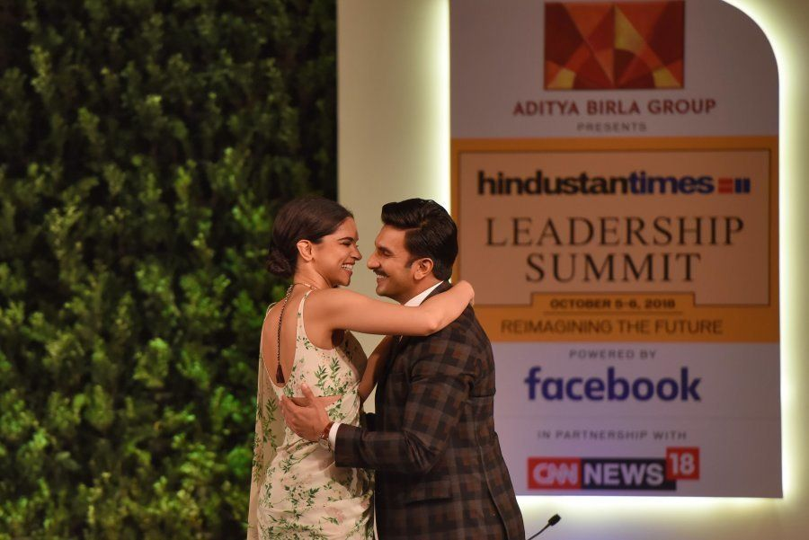 NEW DELHI, INDIA - OCTOBER 5: (EDITOR'S NOTE: This is an exclusive image of Hindustan Times) Bollywood actors Deepika Padukone and Ranveer Singh during a first day of Hindustan Times Leadership Summit (HTLS) 2018 at Taj Palace, on October 5, 2018 in New Delhi, India. (Photo by Burhaan Kinu/Hindustan Times via Getty Images)