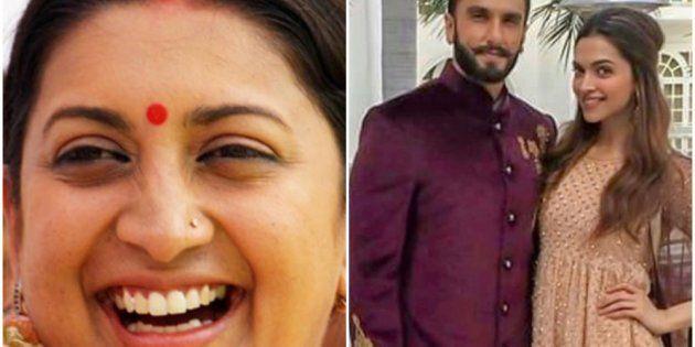 Smriti Irani, Ranveer Singh and Deepika Padukone