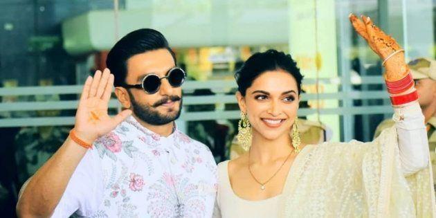 Deepika Padukone and Ranveer Singh at the Mumbai airport on Tuesday morning.