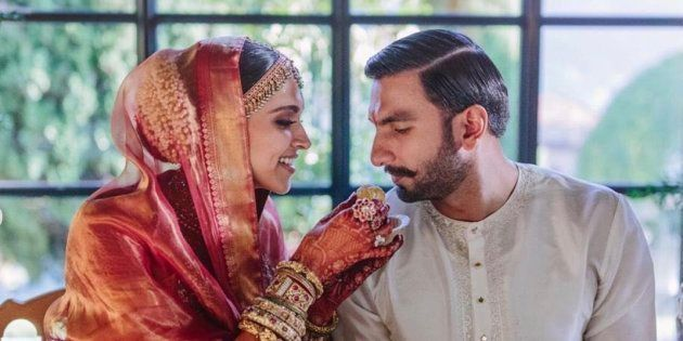 Deepika Padukone and Ranveer Singh in one of the photos they shared on