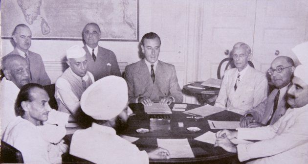 Meeting with the Indian Leaders at the British Viceroy of India's house, 2nd June, 1947. From Lord Mountbatten...