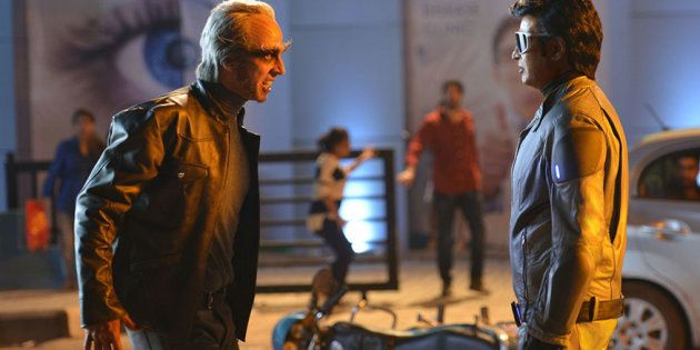 Akshay Kumar and Rajinikanth in a still from '2.0'.