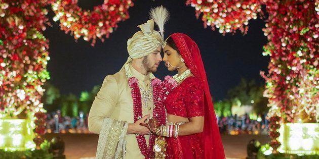 Priyanka Chopra and Nick Jonas in a photo after their 'Hindu' ceremony.