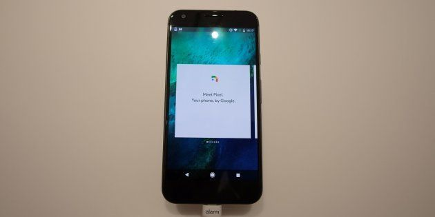 A Google pixel phone is seen on