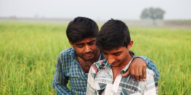 Farmer standing in green field and using touch screen mobile