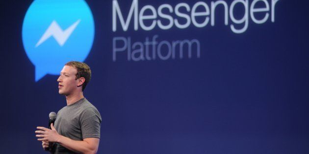 Facebook CEO Mark Zuckerberg introduces a new messenger platform at the F8 summit in San Francisco,