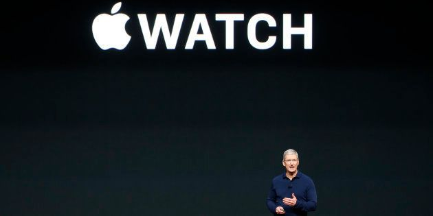 Apple Inc CEO Tim Cook discusses the Apple Watch Series 2 during a media event in San Francisco, California,...