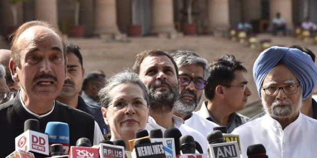 Congress leaders Ghulam Nabi Azad , Sonia Gandhi, Rahul Gandhi and Manmohan Singh along with Opposition...