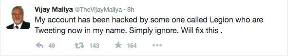 Vijay Mallya's Twitter Account Hacked By Legion, Email Dumps