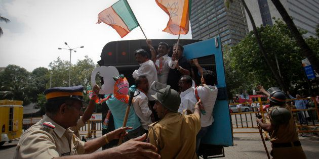 BJP Leaders Detained During Protest Against Telangana's Bill To Raise Muslim