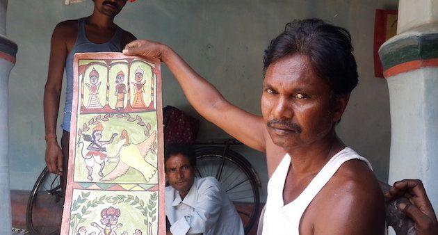 Ganapati shows a mythological story through the Jadu Patia. (Photo by