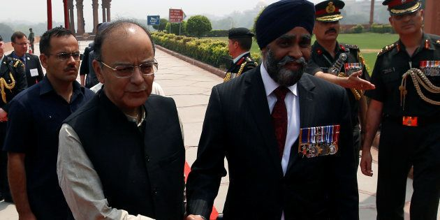 Indian Defence Minister Arun Jaitley with his Canadian counterpart Harjit